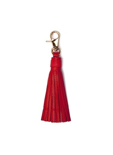 Leather & Paper Deri Püskül Anahtarlık Kırmızı